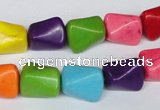 CTU742 15.5 inches 10*13mm nuggets dyed turquoise beads wholesale