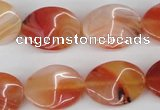 CTW73 15.5 inches 15*20mm twisted oval agate gemstone beads