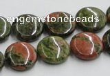 CUG50 16 inches 15mm flat round natural unakite gemstone beads wholesale