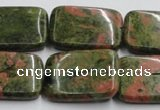 CUG54 16 inches 22*30mm rectangle natural unakite gemstone beads
