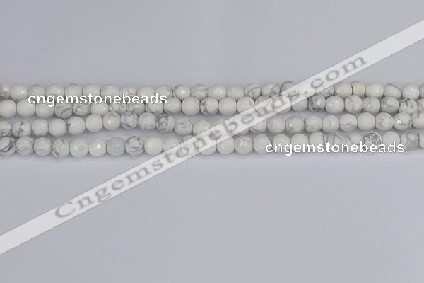 CWB231 15.5 inches 6mm faceted round white howlite beads