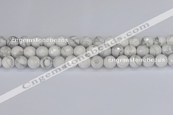 CWB233 15.5 inches 10mm faceted round white howlite beads