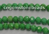 CWB390 15.5 inches 4mm faceted round howlite turquoise beads