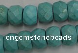 CWB455 15.5 inches 10*14mm faceted rondelle howlite turquoise beads
