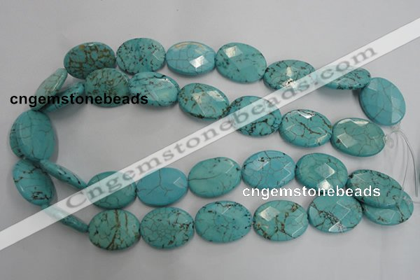 CWB516 15.5 inches 18*25mm faceted oval howlite turquoise beads