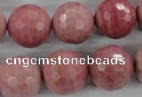 CWF07 15.5 inches 18mm faceted round pink wooden fossil jasper beads
