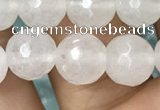 CWH78 15.5 inches 8mm faceted round white jade beads wholesale