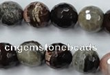 CWJ215 15.5 inches 14mm faceted round wood jasper gemstone beads
