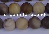 CWJ414 15.5 inches 12mm round matte wood jaspe beads wholesale