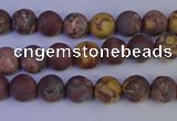 CWJ420 15.5 inches 4mm round matte wood eye jasper beads