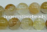 CYC105 15.5 inches 14mm round yellow crystal quartz beads