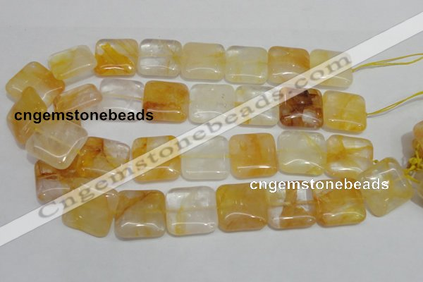 CYC14 15.5 inches 25*25mm square yellow crystal quartz beads