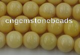 CYJ302 15.5 inches 8mm round yellow jade beads wholesale