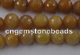 CYJ324 15.5 inches 10mm faceted round yellow jade beads wholesale