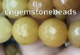 CYJ633 15.5 inches 10mm faceted round yellow jade beads wholesale