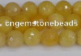 CYJ640 15.5 inches 8mm faceted round yellow jade beads wholesale