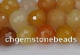 CYJ648 15.5 inches 10mm faceted round mixed yellow jade beads