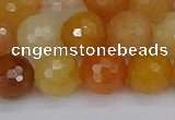 CYJ649 15.5 inches 12mm faceted round mixed yellow jade beads
