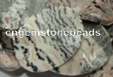 CZJ11 16 inches 30*40mm waved oval zebra jasper gemstone beads