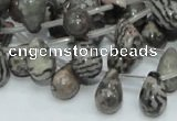 CZJ16 16 inches 8*12mm teardrop zebra jasper gemstone beads wholesale