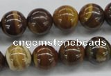 CZJ172 15.5 inches 12mm round iron zebra jasper beads wholesale