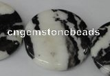 CZJ225 15.5 inches 35mm flat round black & white zebra jasper beads
