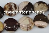 CZJ362 15.5 inches 16mm flat round zebra jasper beads wholesale