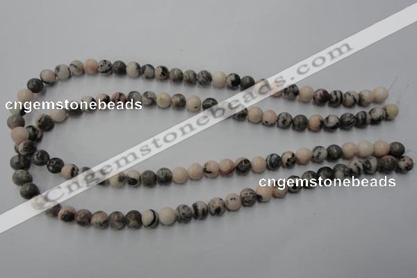 CZJ402 15.5 inches 8mm round pink zebra jasper beads wholesale