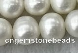 FWP106 15 inches 9mm - 10mm potato white freshwater pearl strands