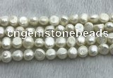 FWP250 15 inches 9mm - 10mm baroque white freshwater pearl strands