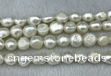 FWP302 15 inches 11mm - 12mm baroque white freshwater pearl strands