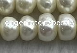 FWP323 15 inches 7mm - 8mm button white freshwater pearl strands