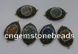 NGC1111 25*35mm oval druzy agate connectors wholesale