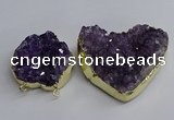 NGC1324 45*50mm - 50*60mm heart druzy amethyst connectors