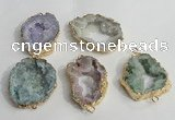 NGC141 30*40mm - 35*45mm freeform plated druzy agate connectors