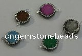 NGC5050 12mm - 14mm flat round druzy quartz with rhinestone connectors
