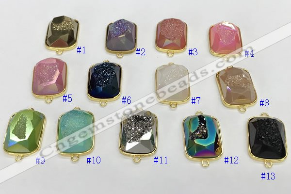 NGC7008 17*22mm faceted rectangle plated druzy agate connectors