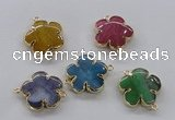 NGC856 28mm - 30mm flower agate gemstone connectors wholesale
