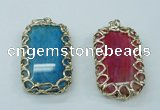 NGP1161 35*60mm freeform agate pendants with brass setting
