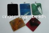 NGP1280 43*52mm rectangle agate pendants with brass setting