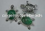 NGP1297 43*60mm tortoise agate pendants with crystal pave alloy settings