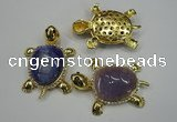 NGP1305 43*60mm tortoise agate pendants with crystal pave alloy settings