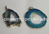NGP1430 30*45mm - 45*55mm freeform plated druzy agate pendants