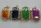 NGP1567 12*40*65mm rectangle agate with brass setting pendants
