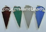 NGP1725 30*65mm arrowhead agate gemstone pendants wholesale