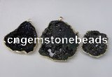 NGP2210 30*40mm - 45*55mm freeform plated druzy agate pendants