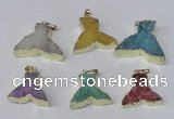 NGP2231 20*25mm - 22*30mm fishtail druzy agate gemstone pendants