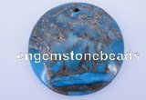 NGP236 7*40mm dyed golden turquoise & pyrite gemstone pendants