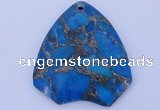 NGP239 39*45mm dyed golden turquoise & pyrite gemstone pendants
