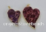 NGP2606 40*50mm - 50*70mm heart sea sediment jasper pendants